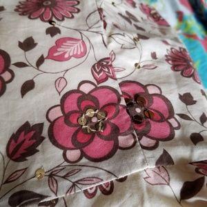 LOFT Dresses - LOFT Sequined Floral Print Strapless Midi Dress